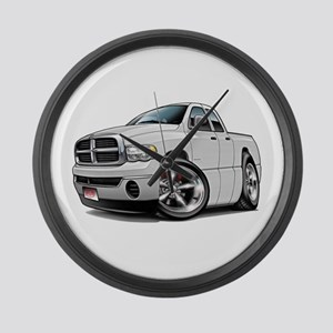 Dodge Ram White Dual Cab Large Wall Clock