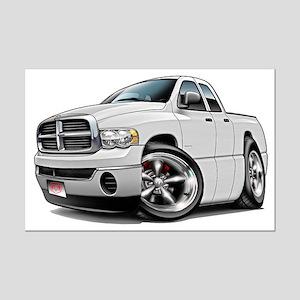 Dodge Ram White Dual Cab Mini Poster Print