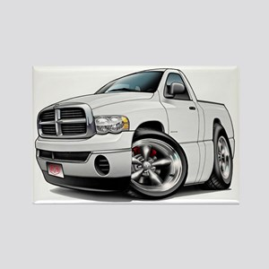 Dodge Ram White Truck Rectangle Magnet