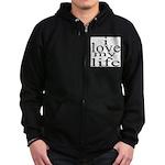 #7004. i love my life Zip Hoodie (dark)