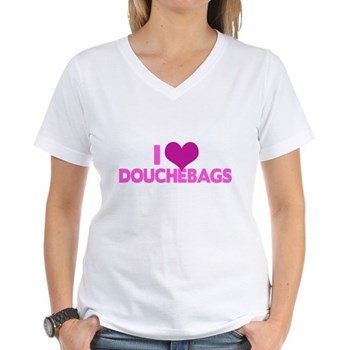 I Heart Douchebags Women's V-Neck T-Shirt