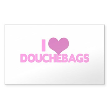 I Heart Douchebags Rectangle Sticker