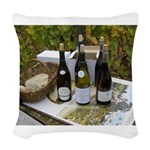 Picnic in the vineyard Woven Throw Pillow