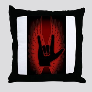 Love Hand Symbol Angel Wings Throw Pillow