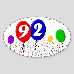 92nd Birthday Oval Sticker