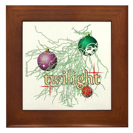 Twilight Christmas Bulbs Framed Tile