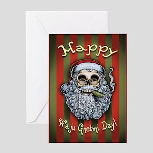 Smokin' Santa Skull Greeting Card