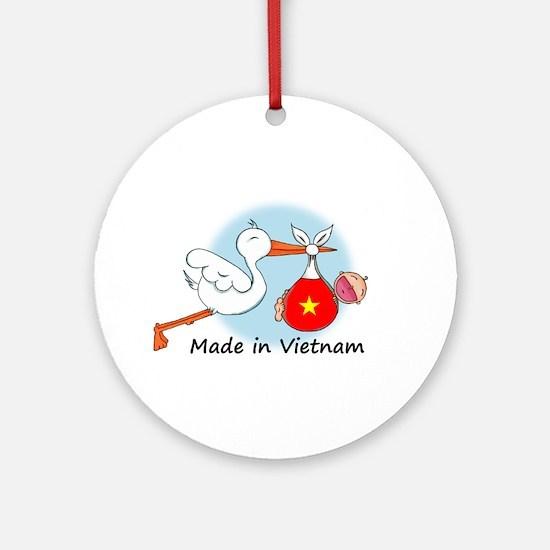 Stork Baby Vietnam Ornament (Round)