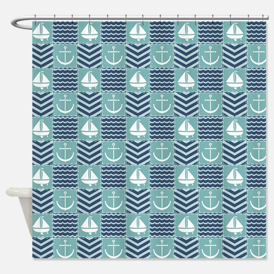 Nautical Quilt Shower Curtain