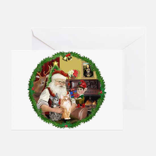 Santa's 2 Tabby Cats Greeting Card