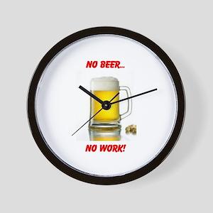 NO BEER NO WORK Wall Clock
