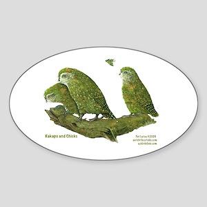 Kakapo and Chicks Oval Sticker