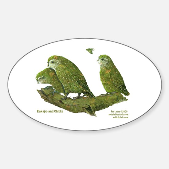 Kakapo and Chicks Oval Decal
