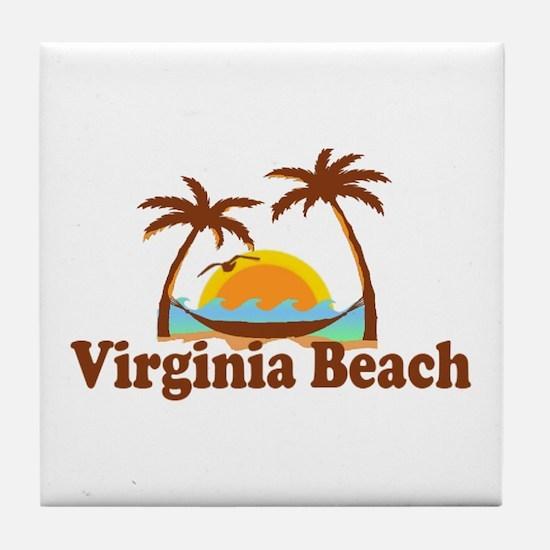 Virginia Beach VA - Sun and Palm Trees Design Tile