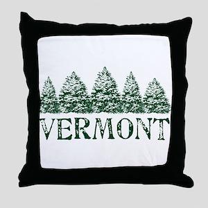 VT Winter Evergreens Throw Pillow