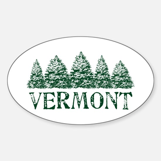 VT Winter Evergreens Sticker (Oval)