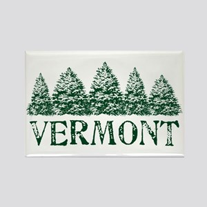 VT Winter Evergreens Rectangle Magnet
