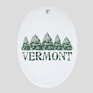 VT Winter Evergreens Ornament (Oval)
