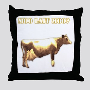 Moo Lait Moo Throw Pillow