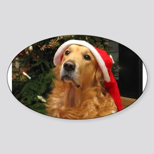 Golden Santa Oval Sticker