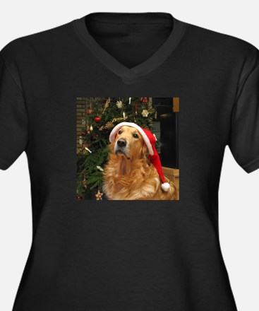 Golden Santa Women's Plus Size V-Neck Dark T-Shirt