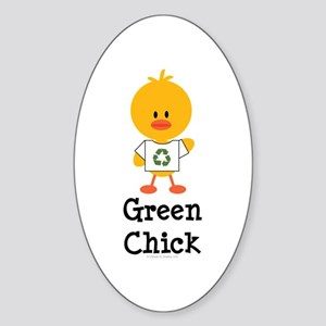 Green Chick Oval Sticker
