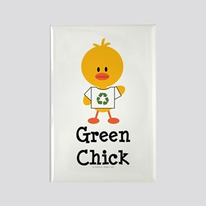Green Chick Rectangle Magnet
