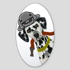 Dalmatian Firefighter Oval Sticker