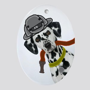 Dalmatian Firefighter Oval Ornament