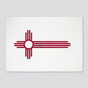 Red Stretched ZIA NM State Flag 5'x7'Area Rug