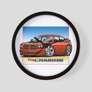 Orange Dodge Charger Wall Clock