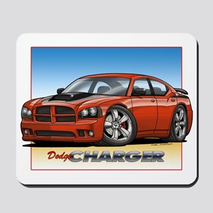 Orange Dodge Charger Mousepad