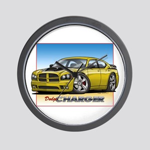 Yellow Dodge Charger Wall Clock