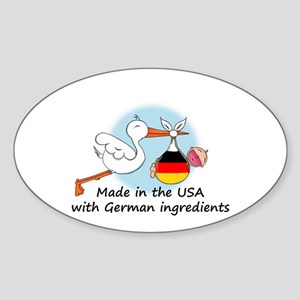 Stork Baby Germany USA Oval Sticker