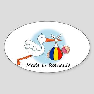 Stork Baby Romania Oval Sticker