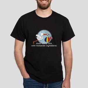 Stork Baby Romania USA Dark T-Shirt