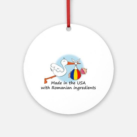 Stork Baby Romania USA Ornament (Round)