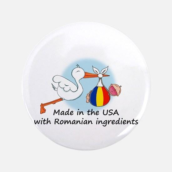 "Stork Baby Romania USA 3.5"" Button"