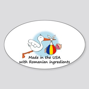 Stork Baby Romania USA Oval Sticker