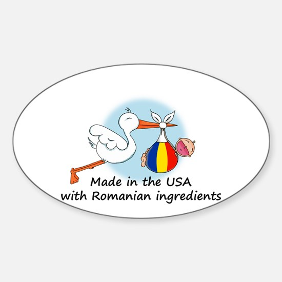 Stork Baby Romania USA Oval Decal