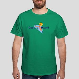 Captiva Island FL - Map Design Dark T-Shirt