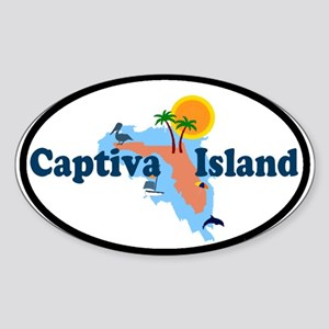 Captiva Island FL - Map Design Oval Sticker