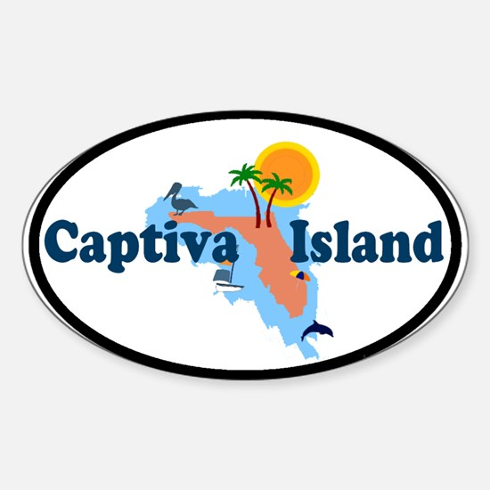 Captiva Island FL - Map Design Oval Decal