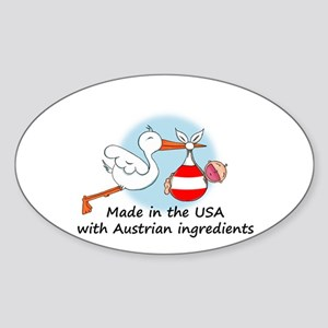 Stork Baby Austria USA Oval Sticker