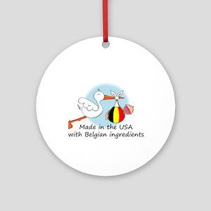 Stork Baby Belgium USA Ornament (Round)