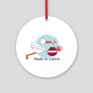 Stork Baby Latvia Ornament (Round)