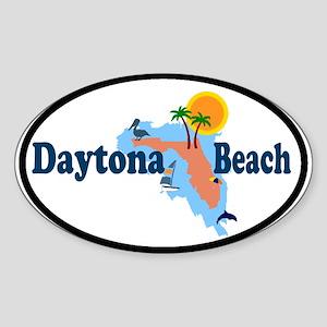 Daytona Beach FL - Map Design Oval Sticker