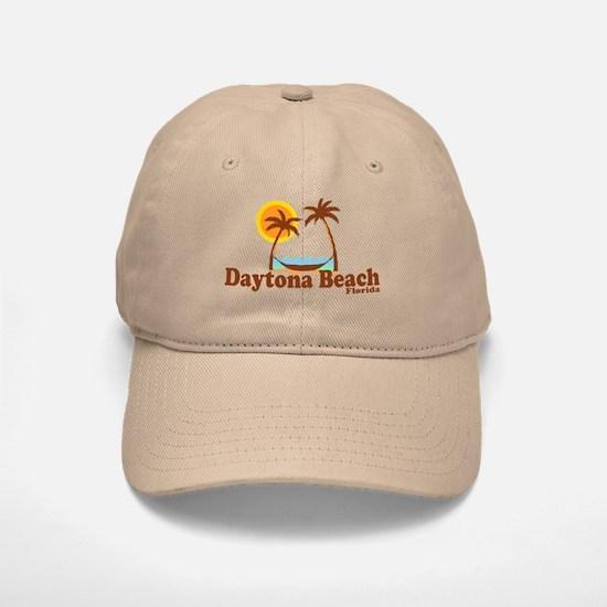 Daytona Beach FL - Sun and Palm Trees Design Baseball Baseball Cap
