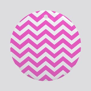 Pink Chevron Pattern Round Ornament