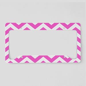 Pink Chevron Pattern License Plate Holder